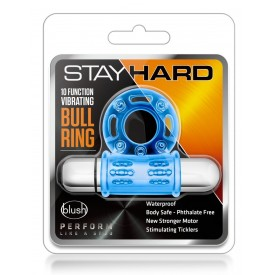 Голубое эрекционное виброкольцо 10 Function Vibrating Mega Bull Ring